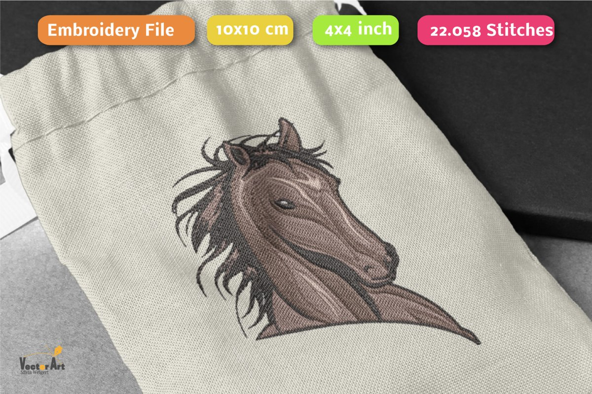 Wild Horse Head - Embroidery File - 4x4 inch example image 1