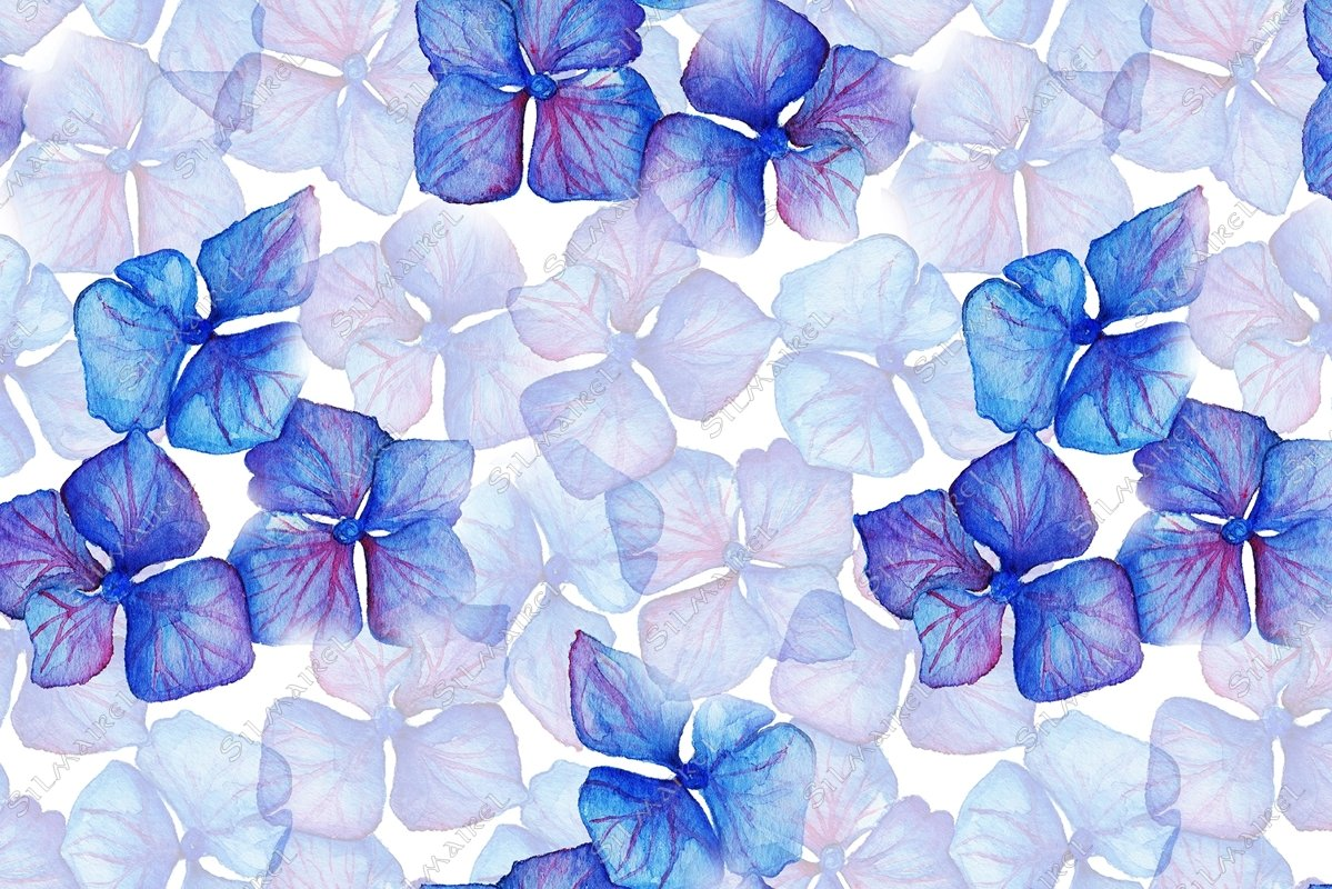 Blue violet hydrangea flowers composition seamless pattern example image 1