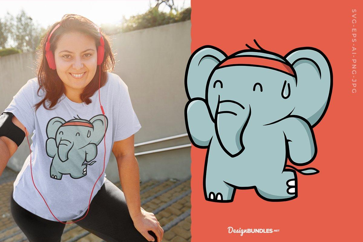 Elephant Jogging Illustration example image 1