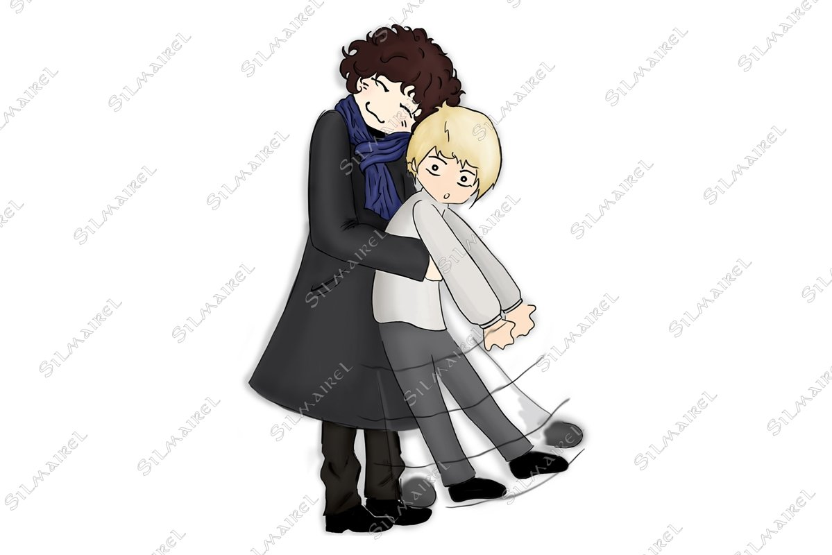 Hug pair man anime manga kawaii chibi cartoon example image 1