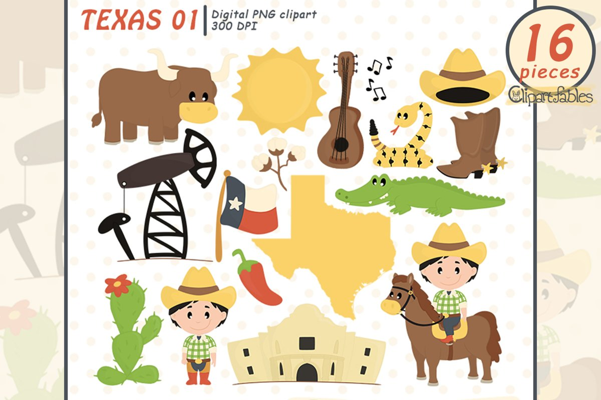 TEXAS STATE clipart, Cute Texas graphic, INSTANT download example image 1