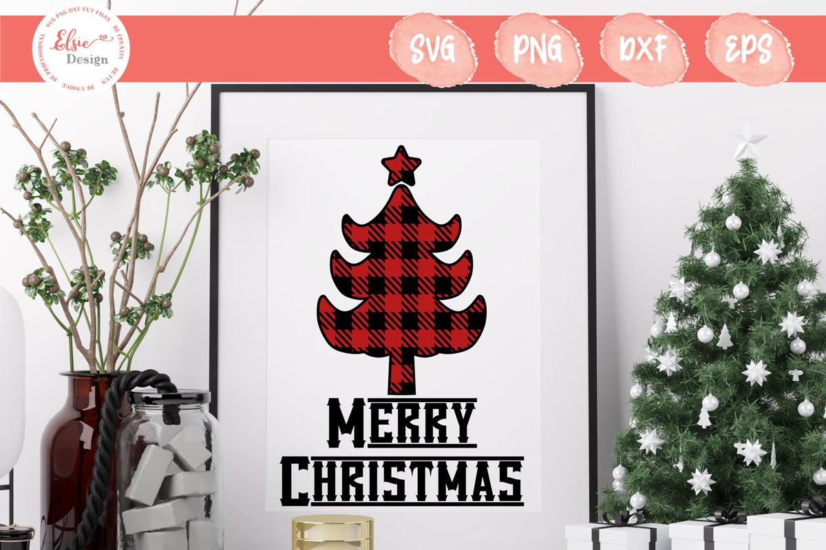 Merry Christmas - Buffalo Plaid Christmas Tree SVG Cut Files example image 1