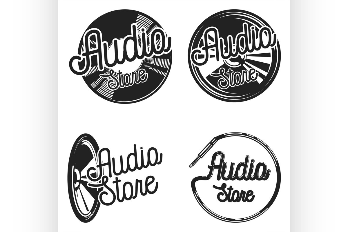 Vintage audio store emplems example image 1