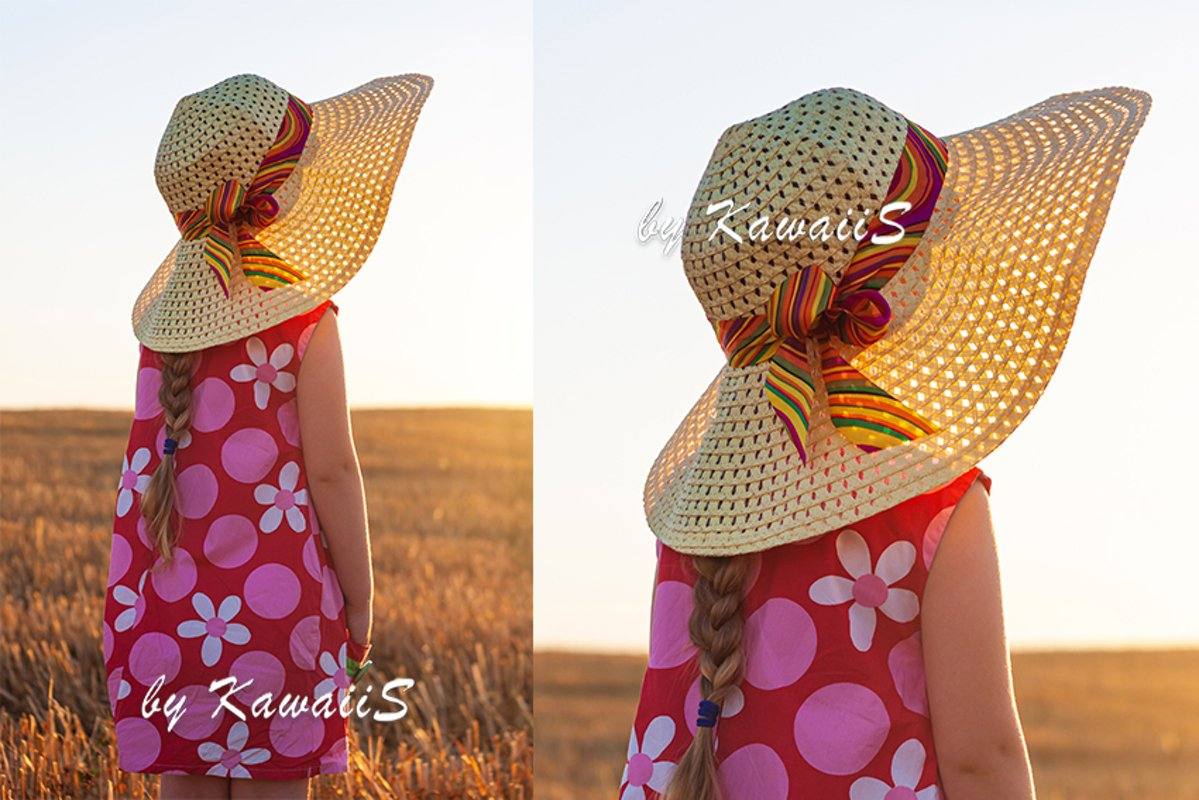 Child girl in staw hat in wheat field on countryside sunset example image 1