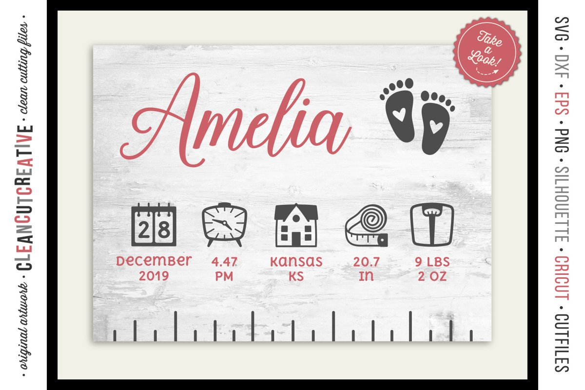 BABY BIRTH STATS - newborn elements - SVG file for crafters example image 1