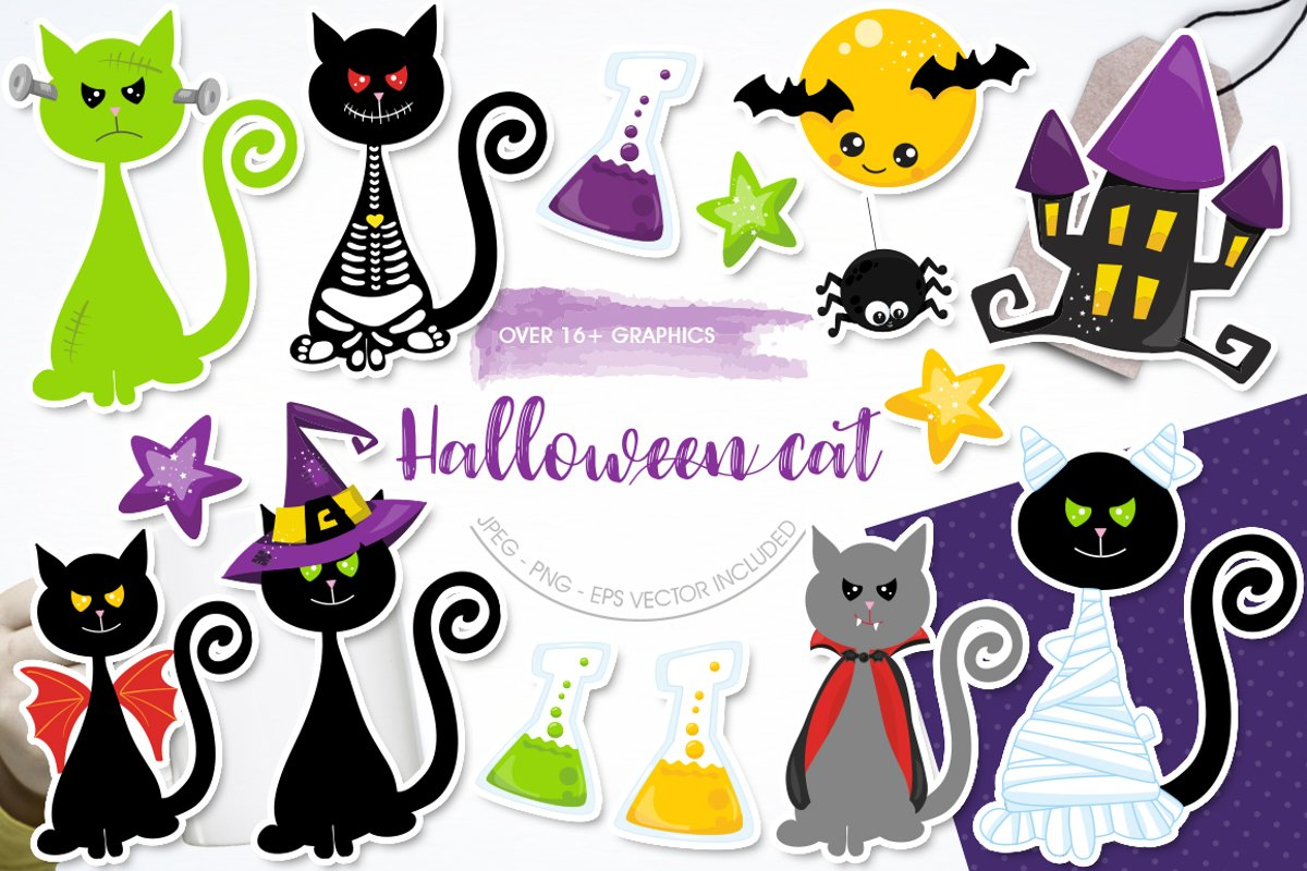Halloween Cats Graphics and illustrations, vecto example image 1