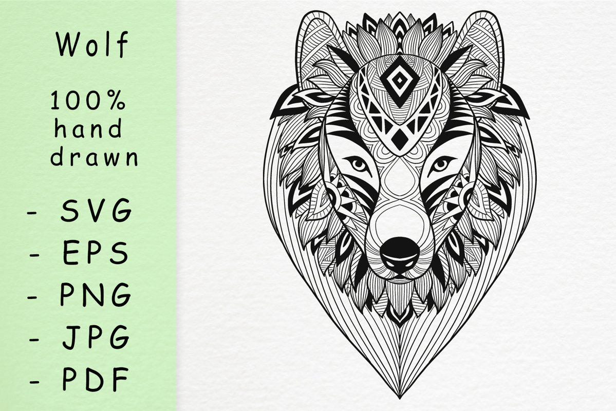 Hand drawn wolf head with patterns example image 1