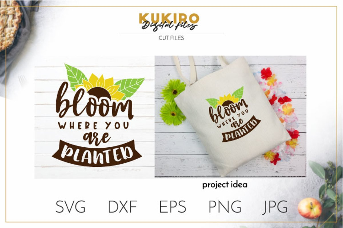 Bloom where you are planted SVG - Sunflower svg quotes example image 1