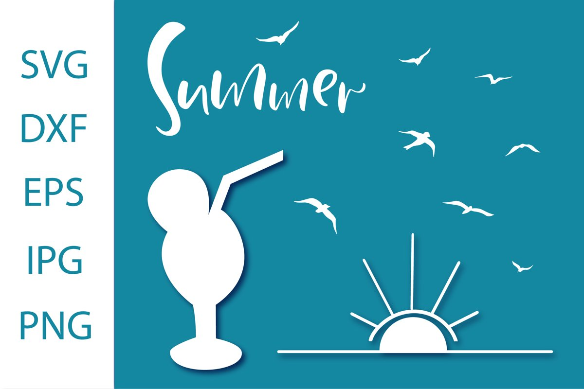 Summer,Beach SVG .File for Silhouette . Digital craft SVG example image 1
