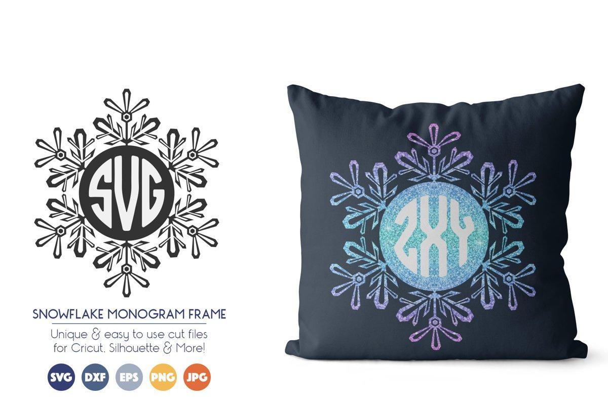 Snowflake Monogram Frame SVG Cut Files example image 1