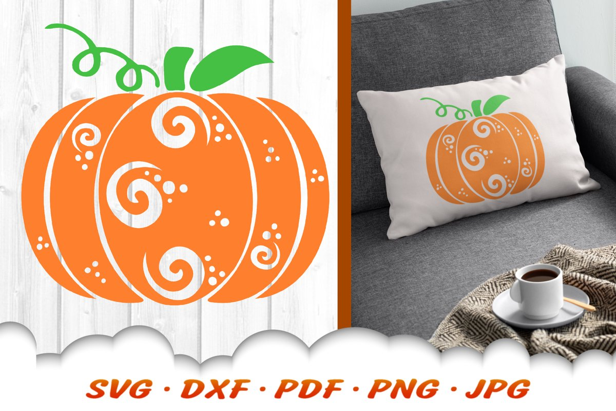 Zentangle Pumpkin SVG DXF Cut Files Fall Autumn example image 1