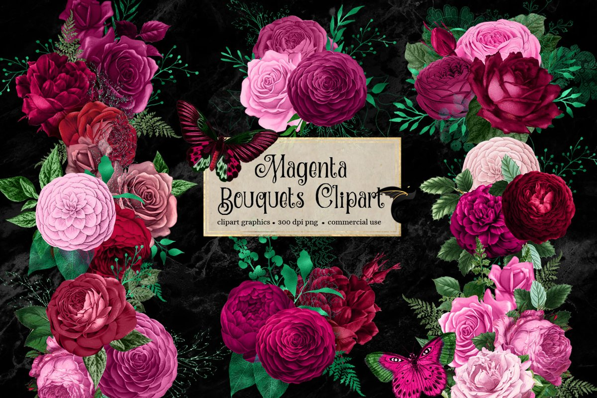 Magenta Bouquets Clipart example image 1