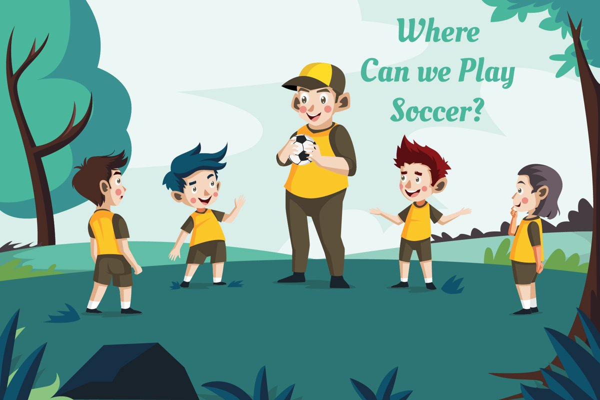 Where can we play soccer - vector illustration example image 1