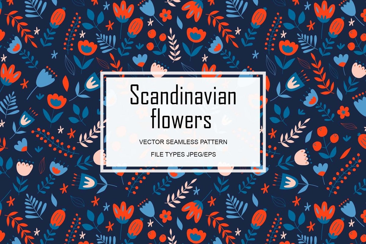 Scandinavian flowers. Seamless vector pattern. example image 1