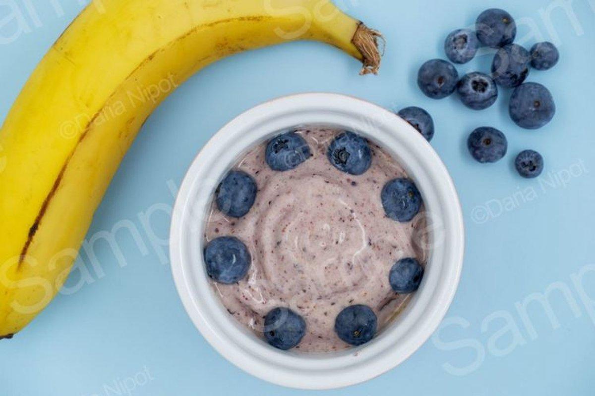 Banana nice cream with bluberries example image 1