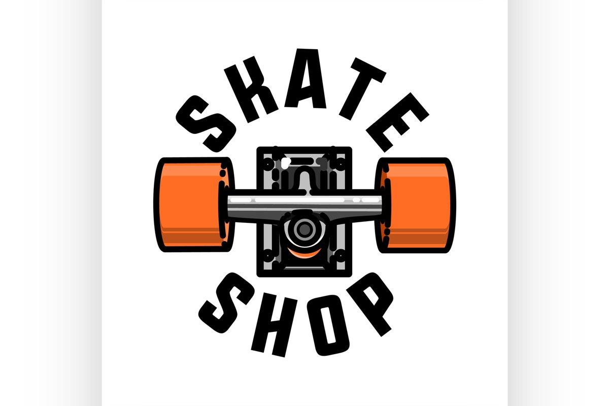 Color vintage skate shop emblem example image 1