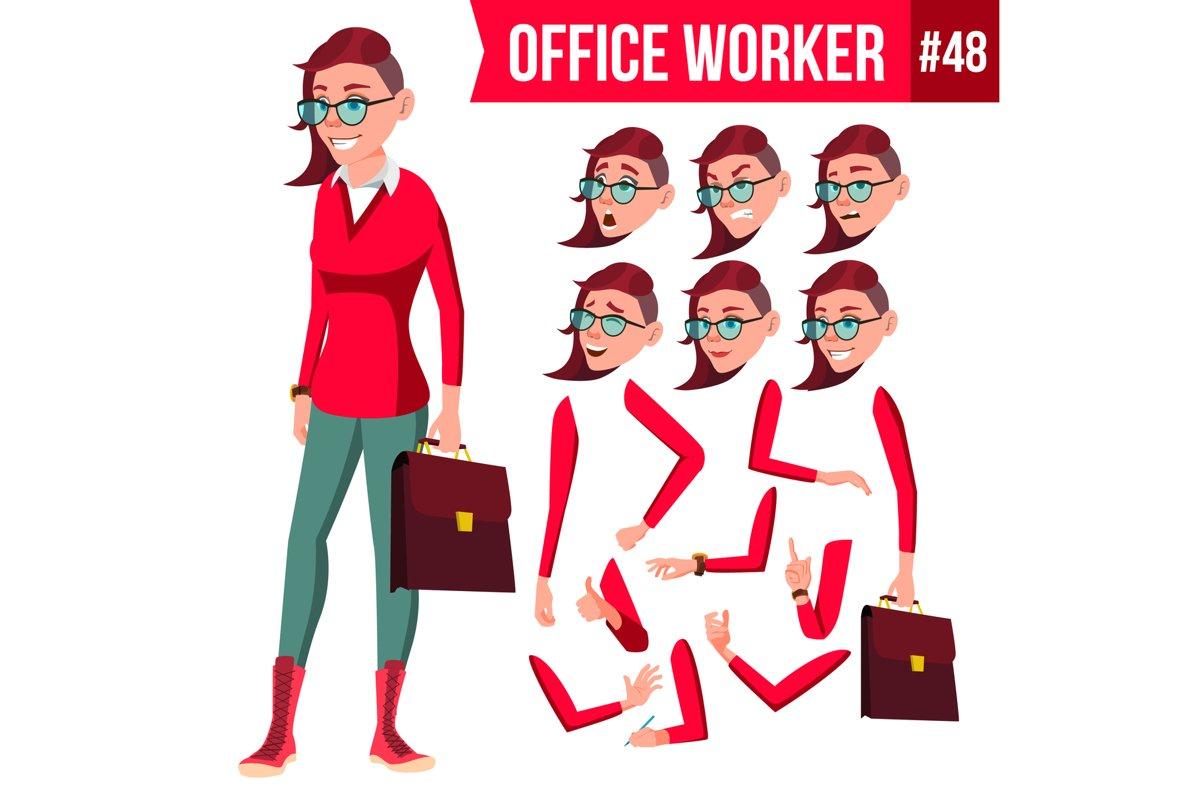 Office Worker Vector. Woman. Happy Clerk, Servant, Employee. example image 1