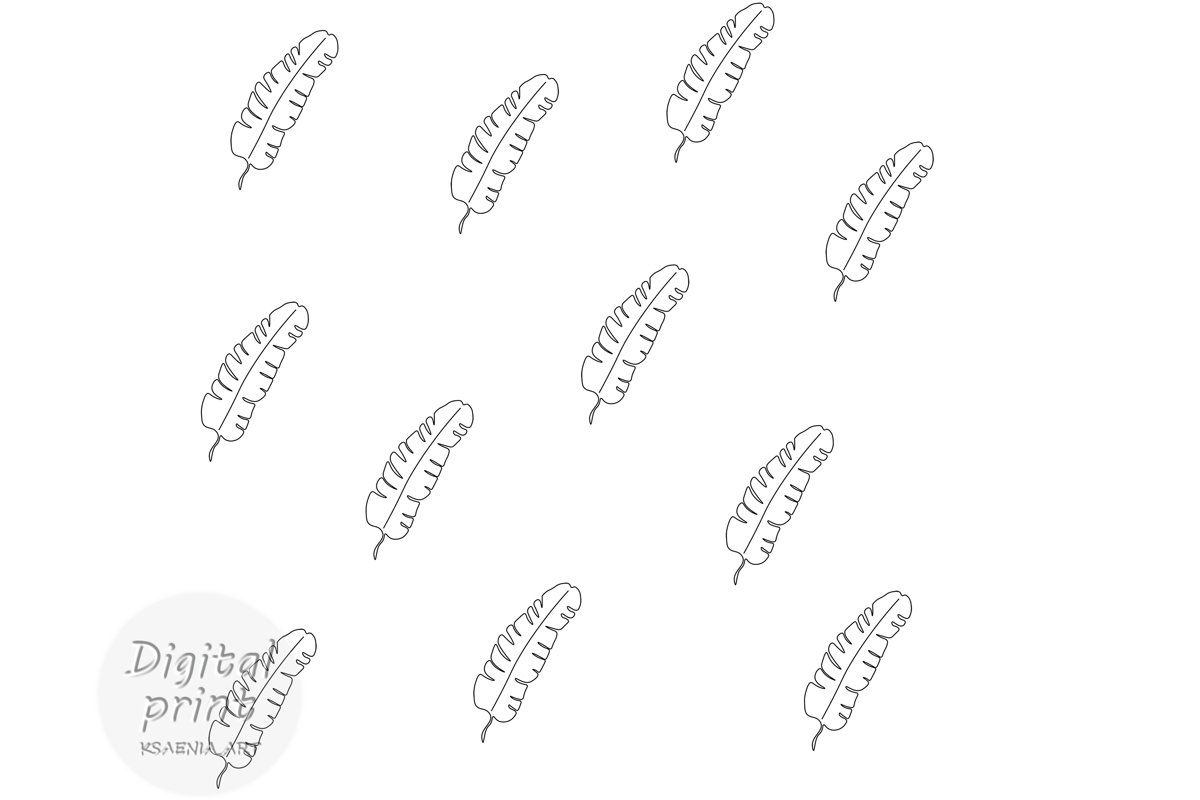Seamless pattern. Line art tropic. Black on white background example image 1