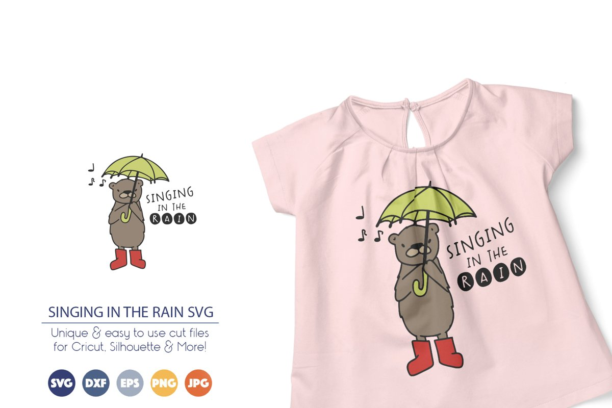 Funny Bear SVG   Singing in the Rain SVG example image 1