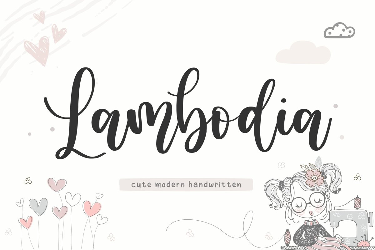 Lambodia Cute Modern Handwritten Font example image 1