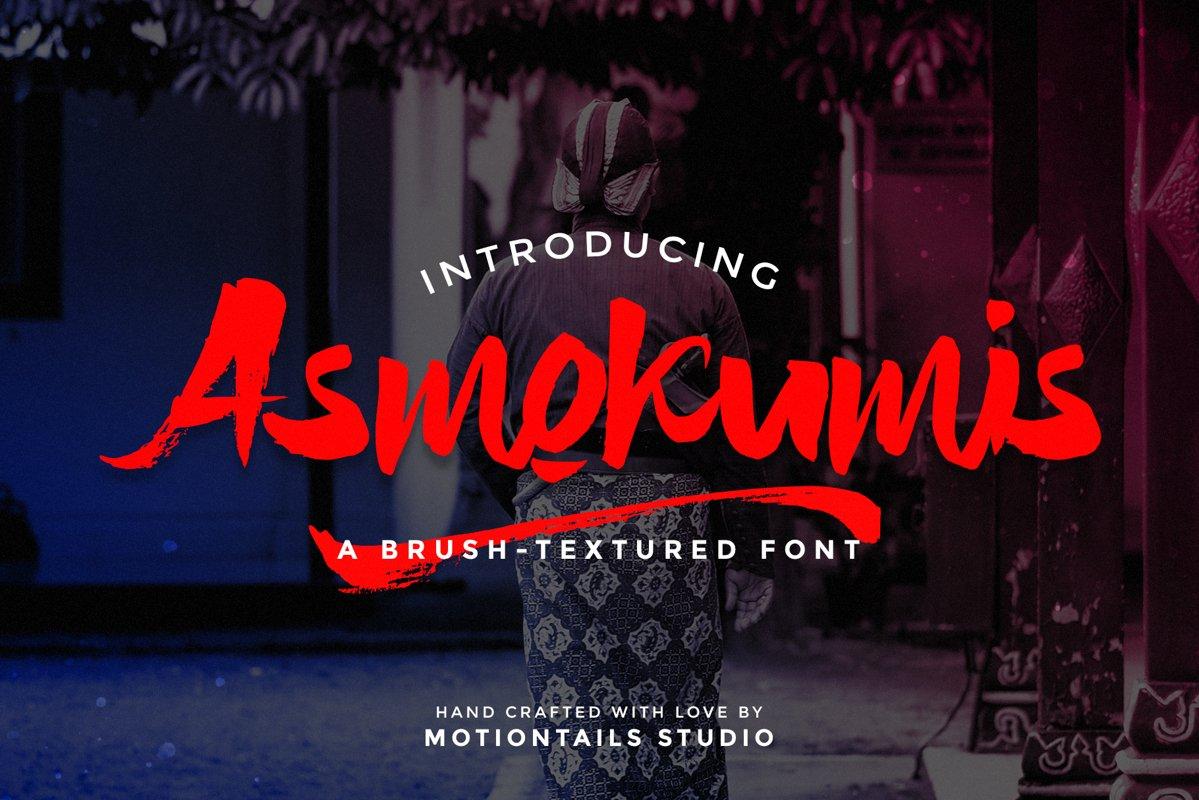 Asmokumis Textured Brush Font example image 1
