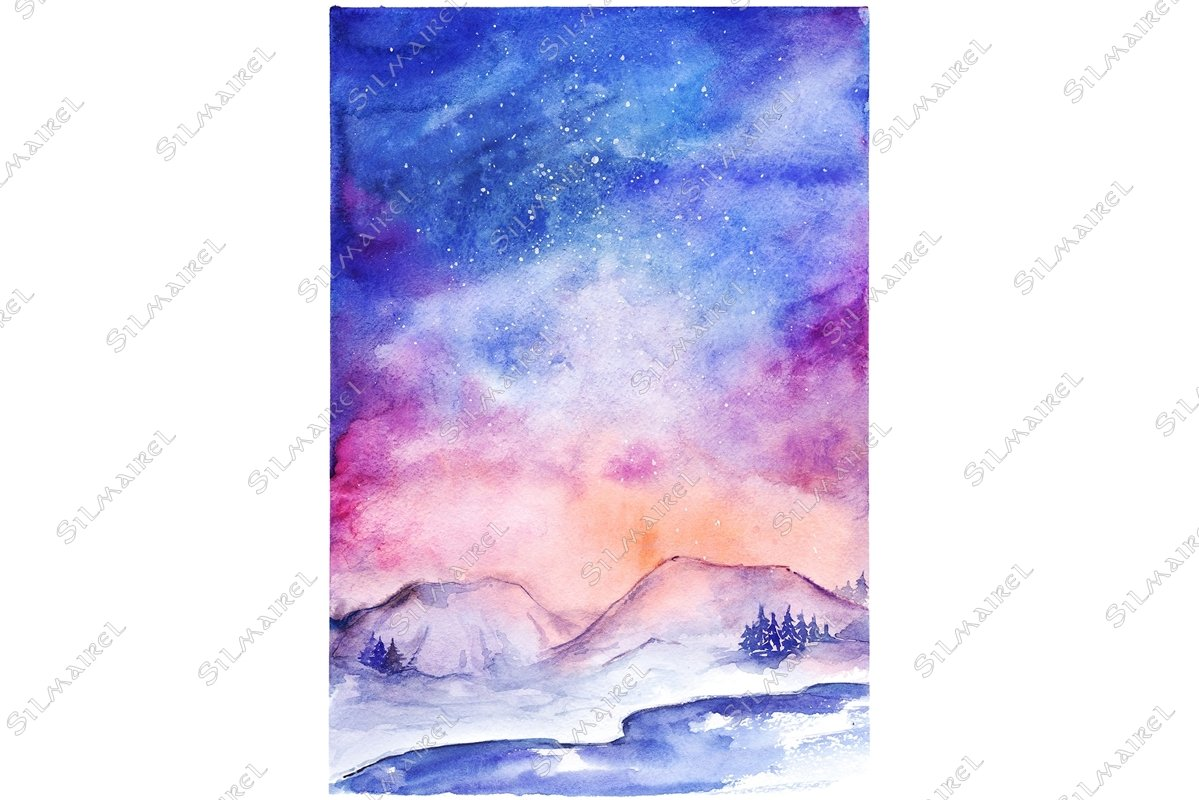 Watercolor northern lights nature snow winter landscape example image 1