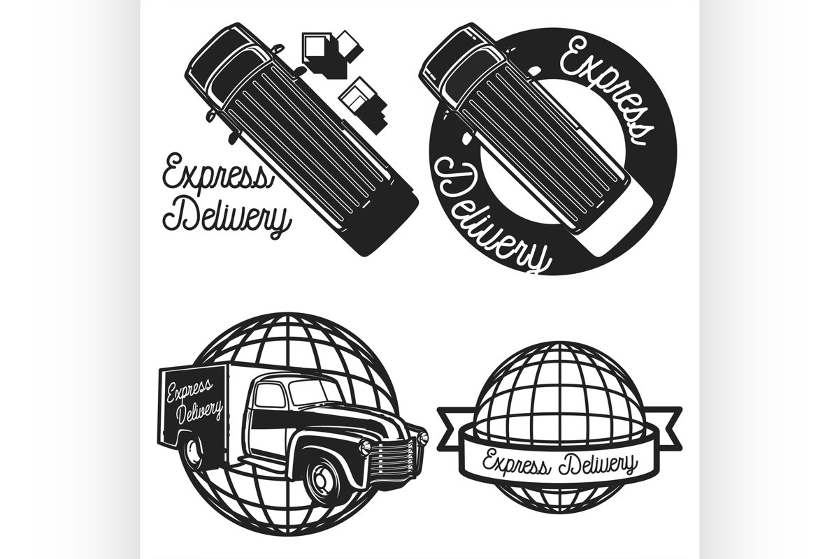 Vintage express delivery emblems example image 1