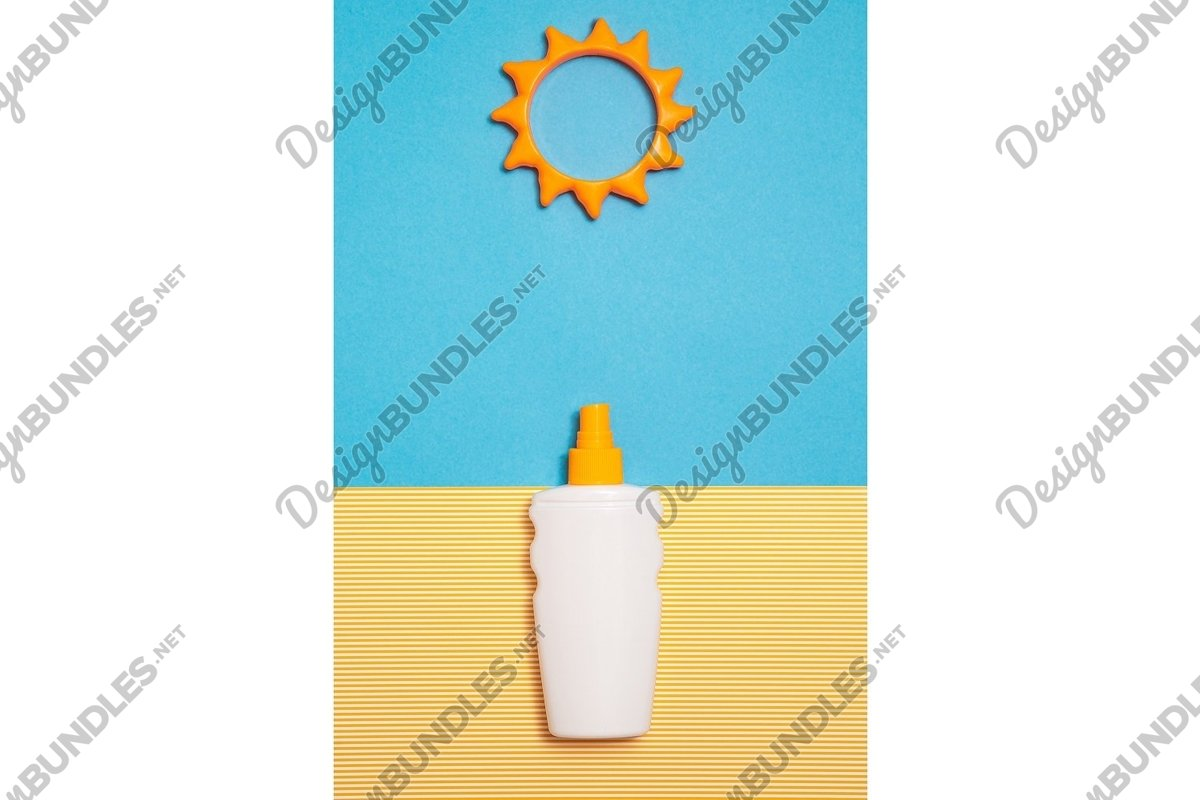 Photo of a bottle of sunscreen cream or lotion, vertical example image 1