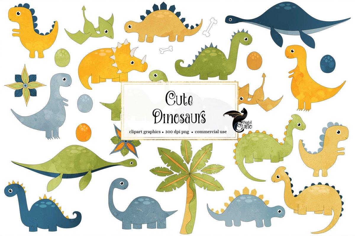 Cute Dinosaurs Clip Art example image 1