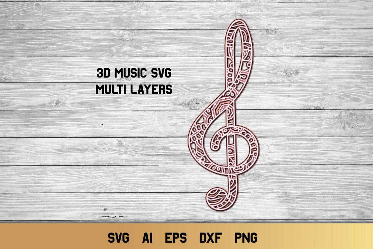 3d Layered Treble Clef SVG | Multi Layer Music SVG Cut File example image 1
