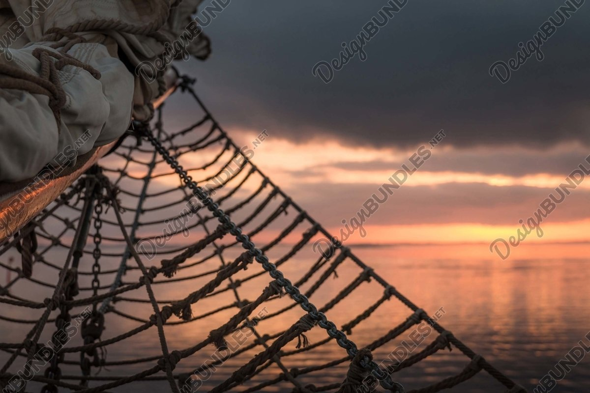 Stock Photo - Silhouette of a sailboat rope example image 1
