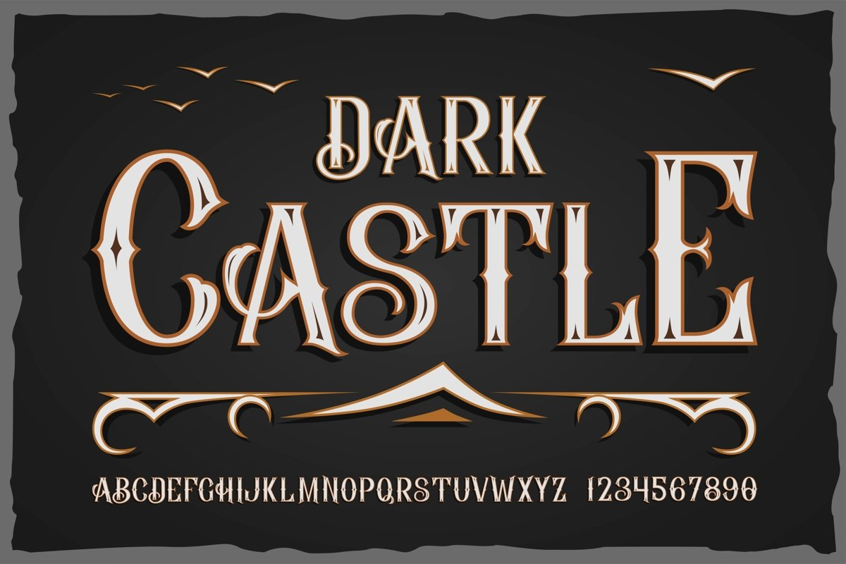 """""""Dark Castle"""" OTF vintage label font. Uppercase only! example image 1"""