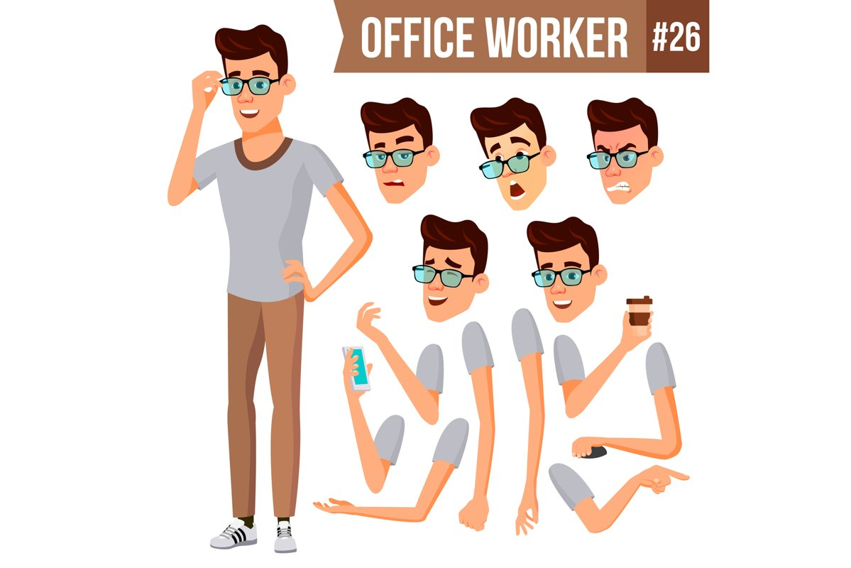 Office Worker Vector. Animation Creation Set. Businessman example image 1