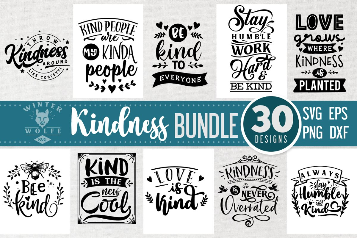 Kindness Bundle 30 designs SVG EPS DXF PNG example image 1