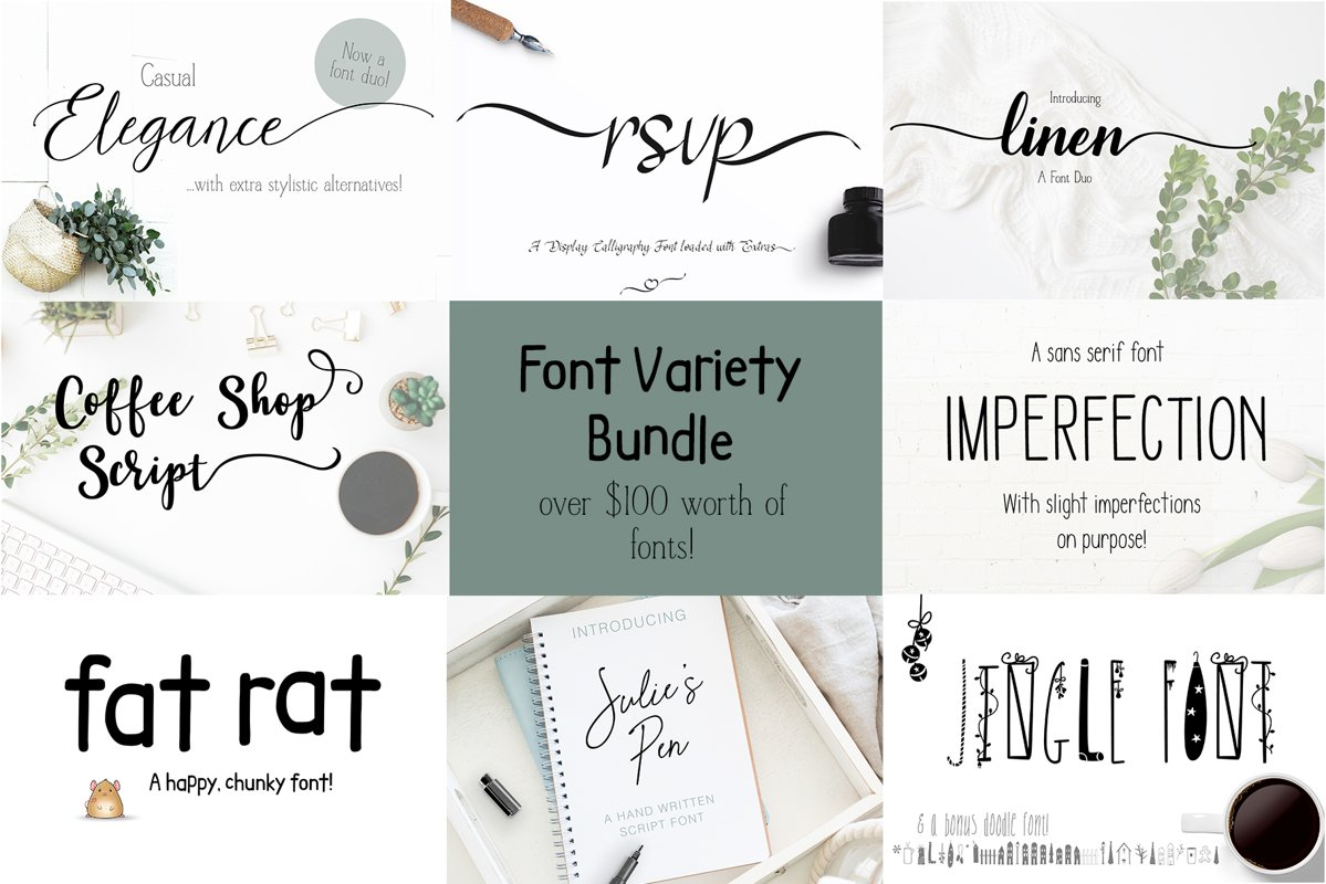 Font Bundle Variety of Script Serif and Fun example image 1