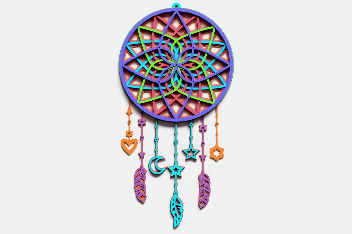 Dream Catcher Multilayer Mandala, Vector file for cutting example image 1