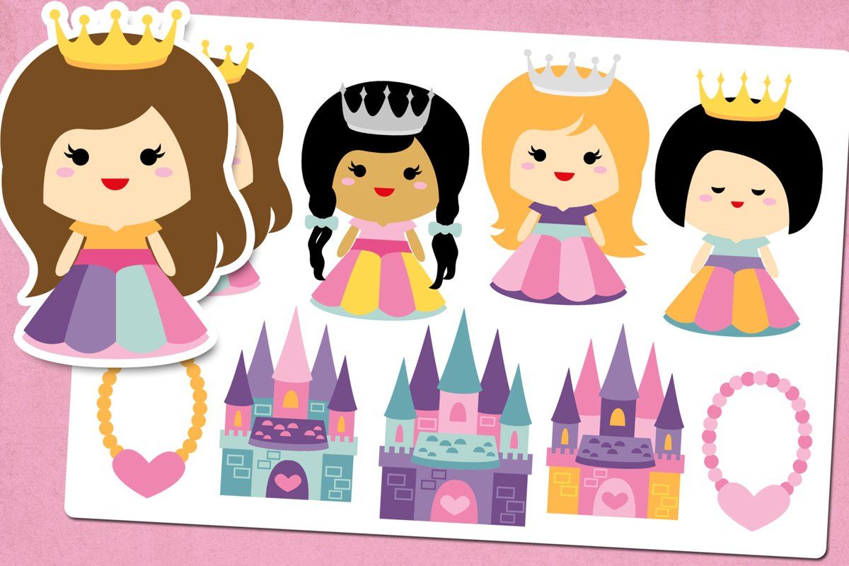 Princess and Castle Illustrations Clip Art example image 1