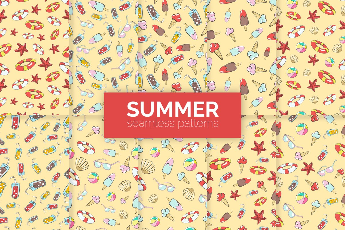 Summer Seamless Patterns example image 1