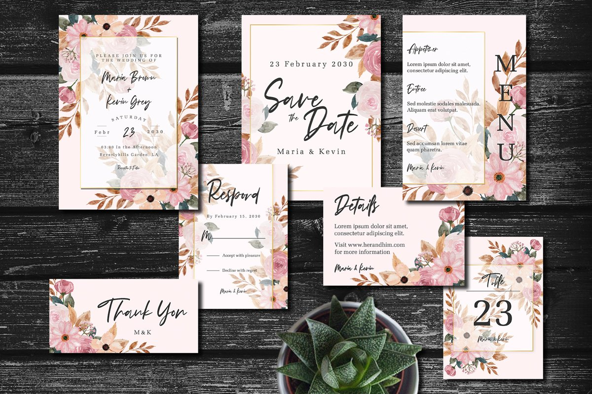 Peach and Pink Floral Wedding Invitation Set example image 1
