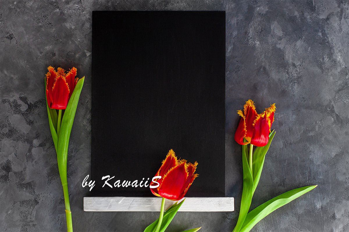 Black chalk board mockup with red tulip flowers on concrete example image 1