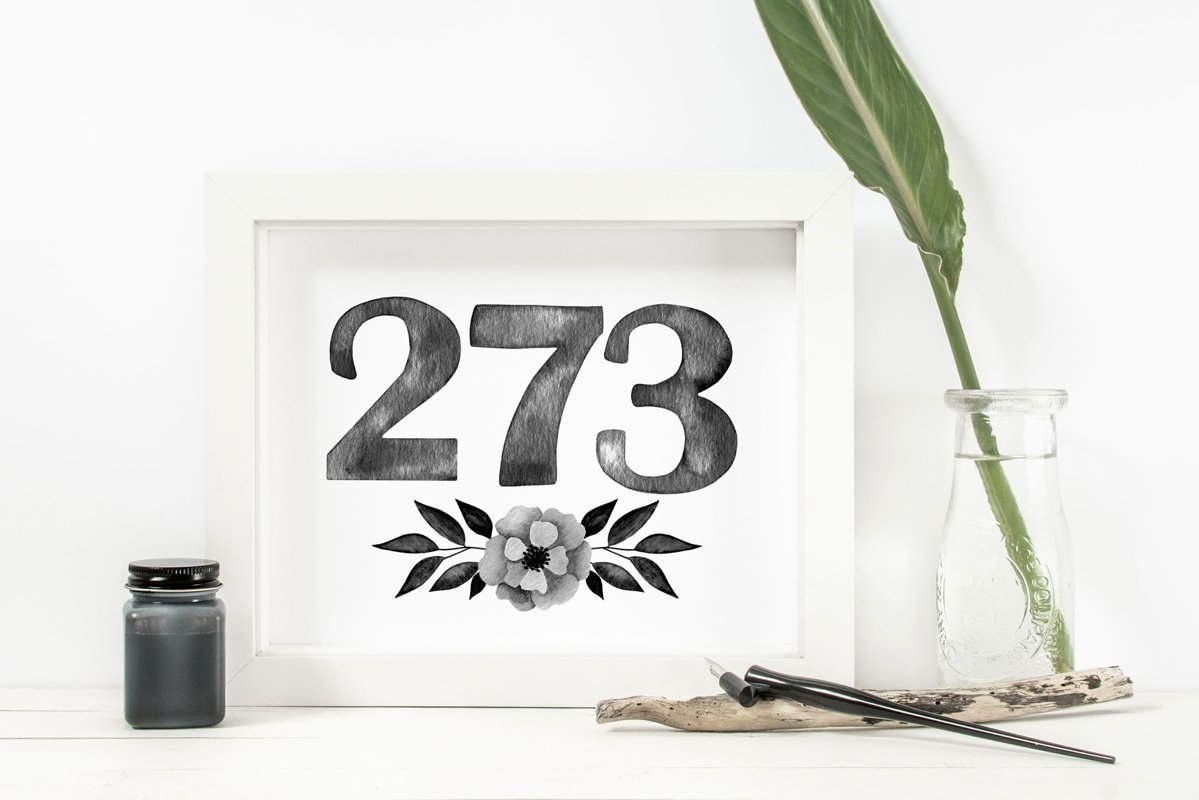 Black watercolor number cliparts with flower arrangements example image 1