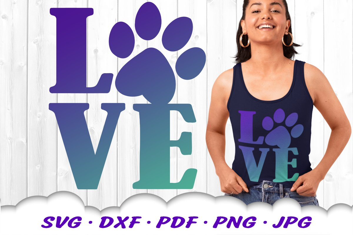 Dog Mom Paw Print Love SVG DXF Cut Files example image 1