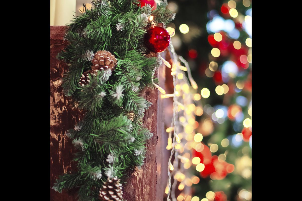Defocused New Year Greeting Card Concept, christmas. example image 1