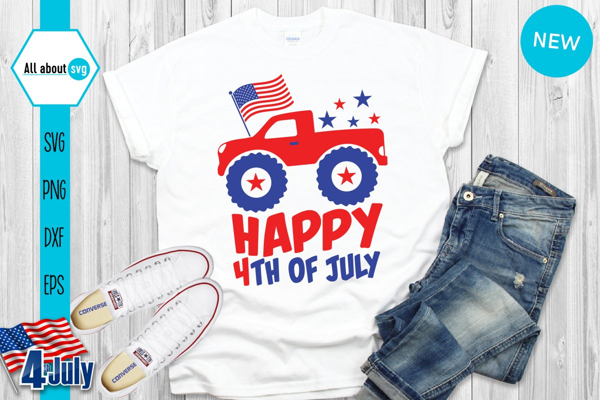 Happy 4th Of July Svg, USA Truck Svg example image 1
