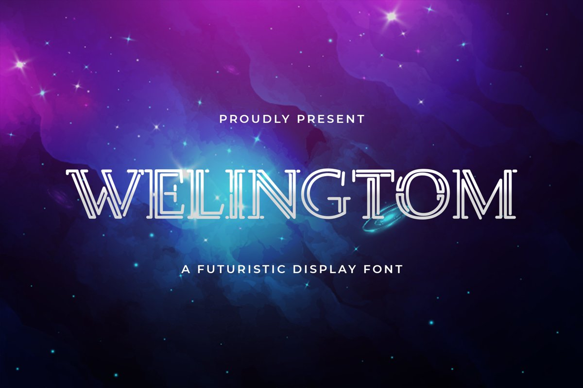 Welingtom - Futuristic Display Font example image 1