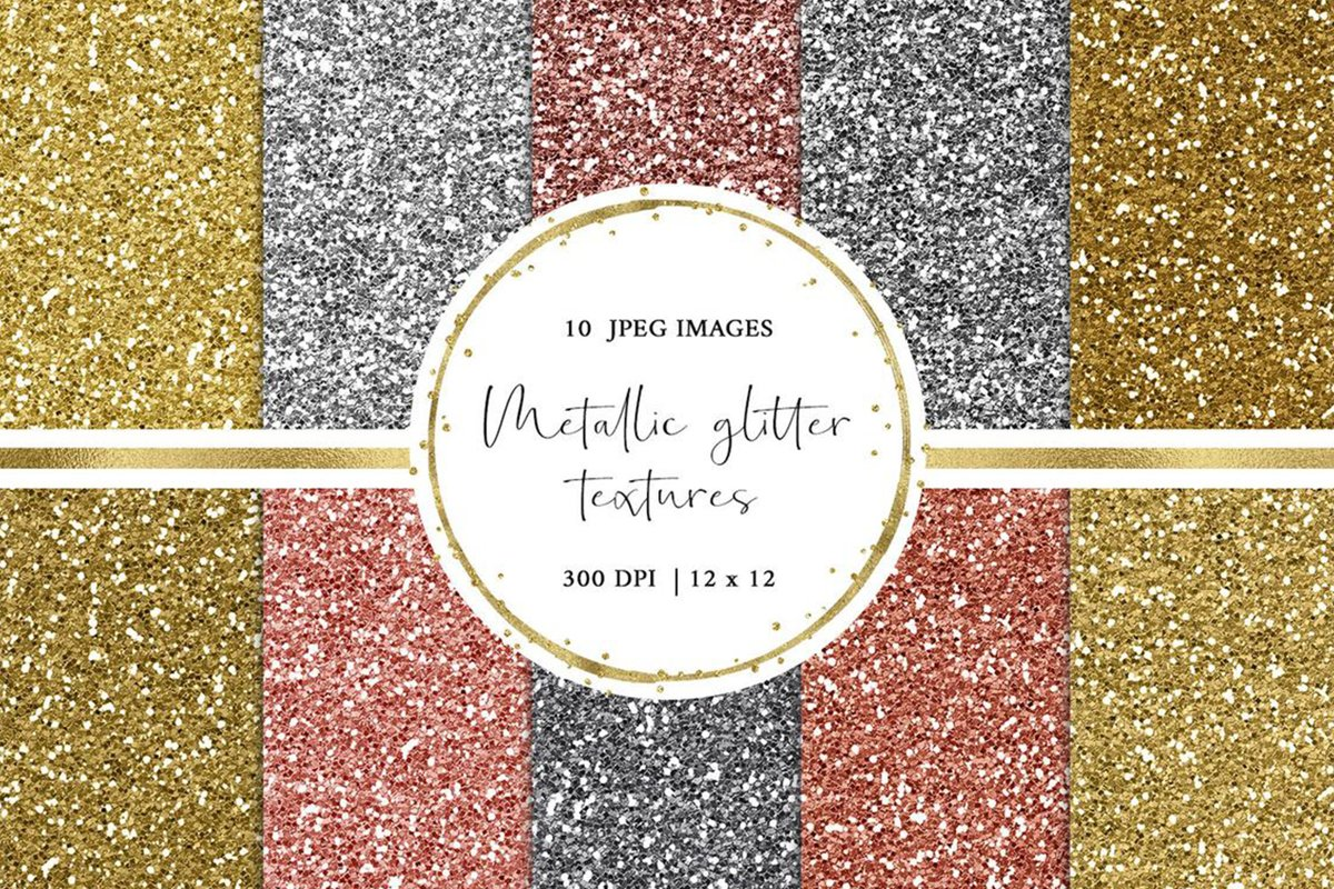 Metallic Glitter Digital Paper in Gold, Silver and Rose Gold example image 1