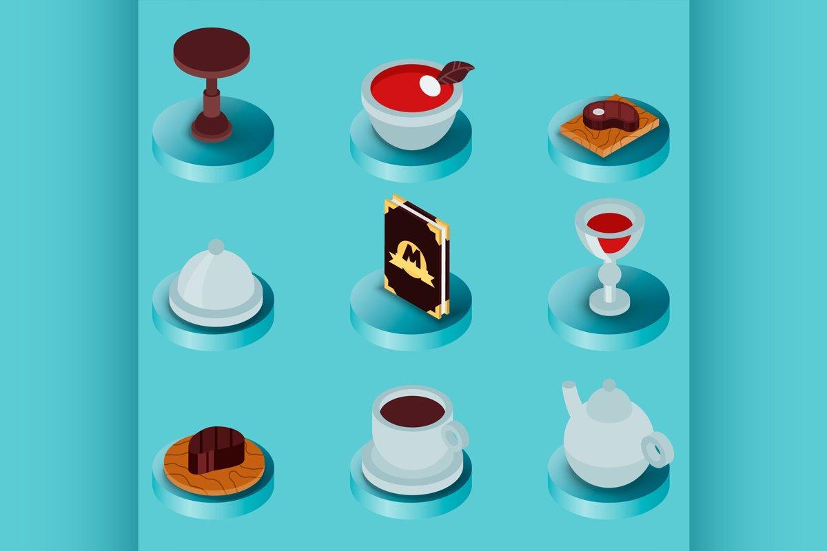 Restaurant flat isometric icons example image 1