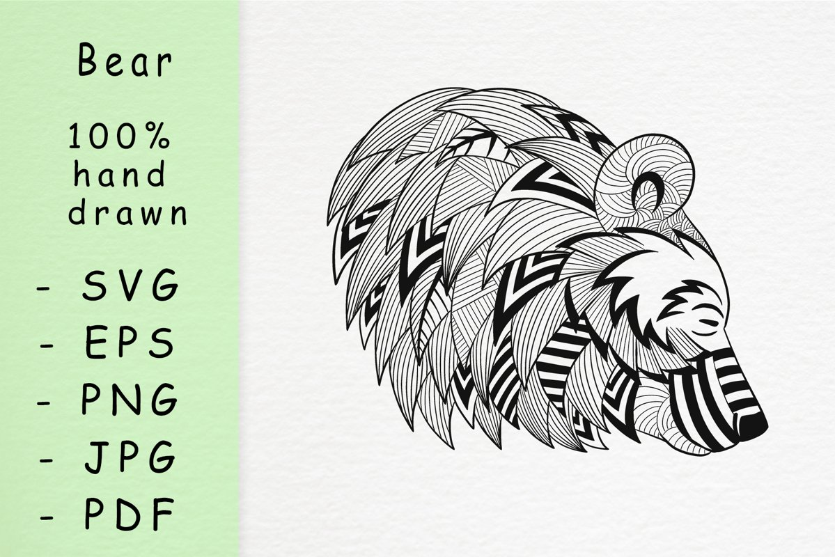 Hand drawn Bear head with patterns example image 1