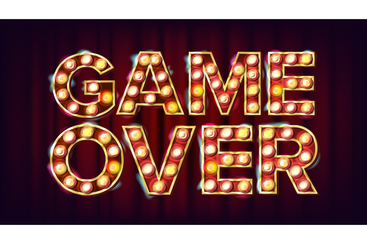Game Over Banner Vector. Casino 3D Glowing Element. For Slot example image 1