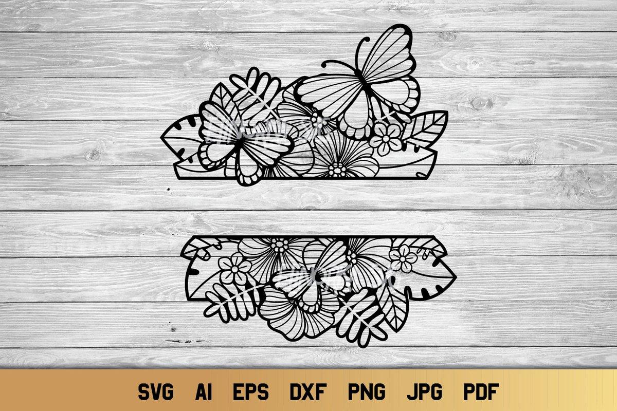 Split Monogram SVG | Floral SVG | Butterfly SVG | Summer SVG example image 1